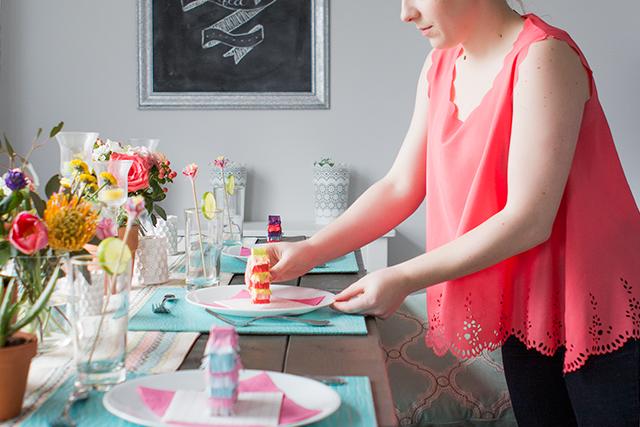 A bright diy Cinco de Mayo dinner party fiesta complete with mini pinatas!