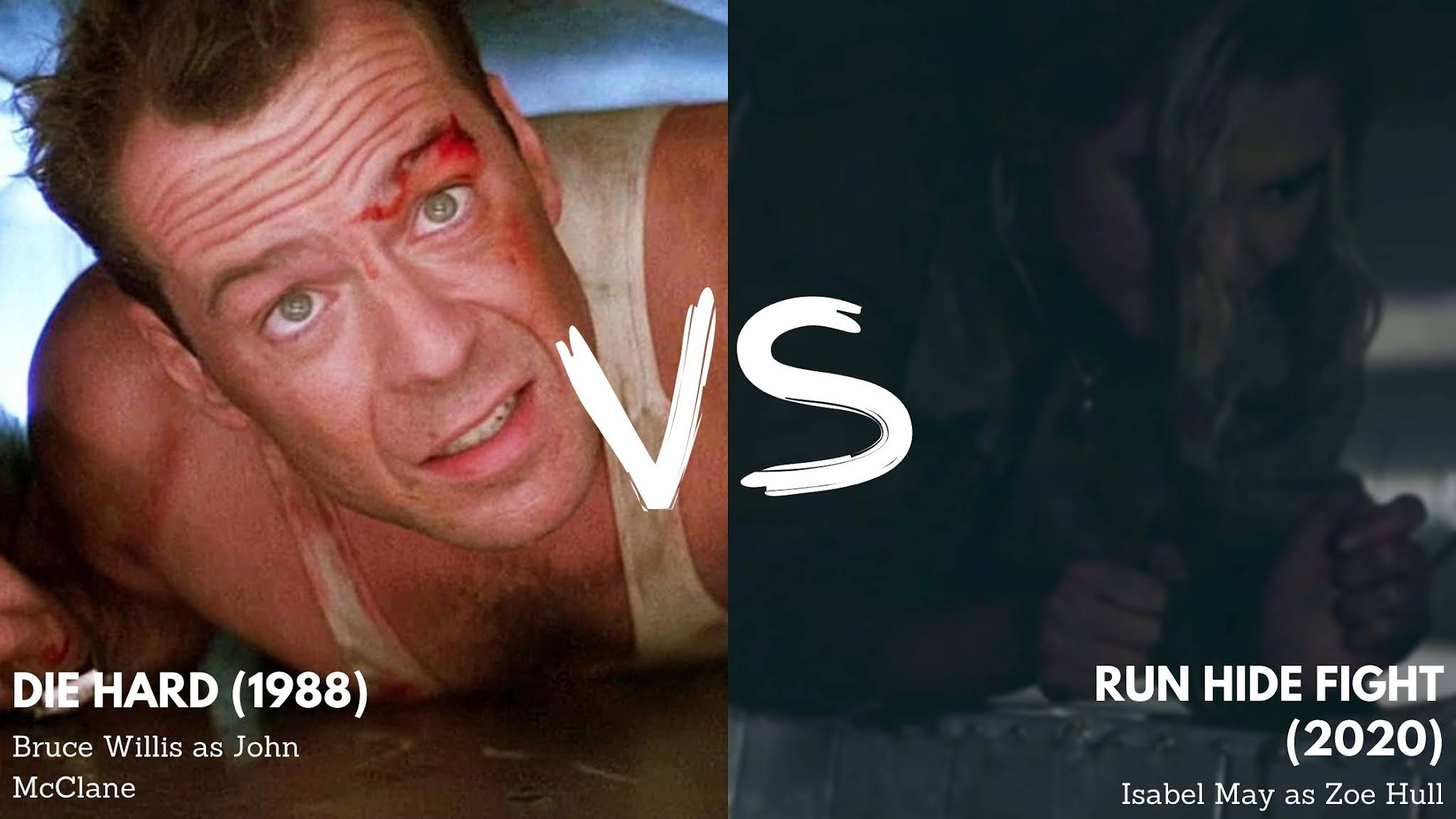 image comparing die hard and run hide fight by showing the main characters of both films crawling in a vent