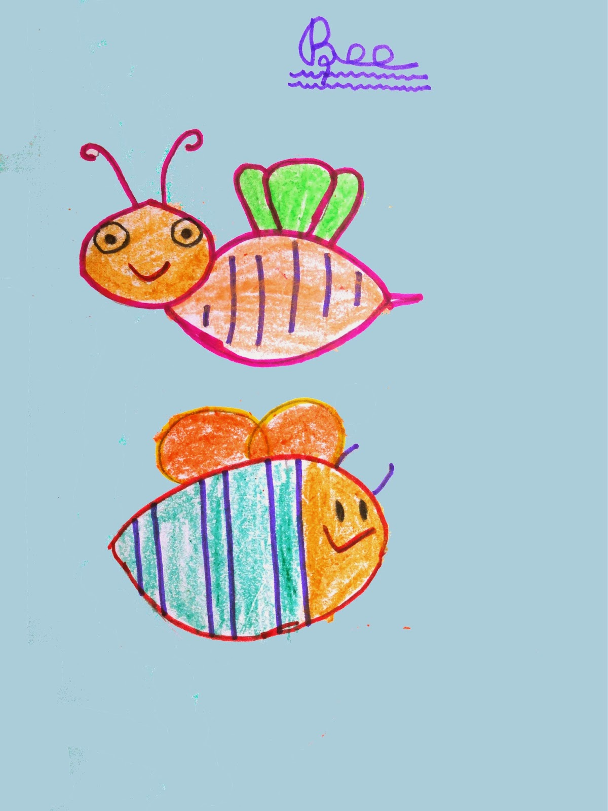 honey bee drawing for kids