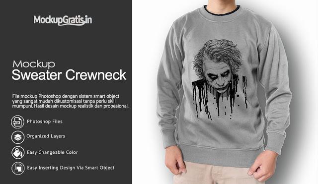 PSD Mockup Sweater Crewneck #01 Gratis