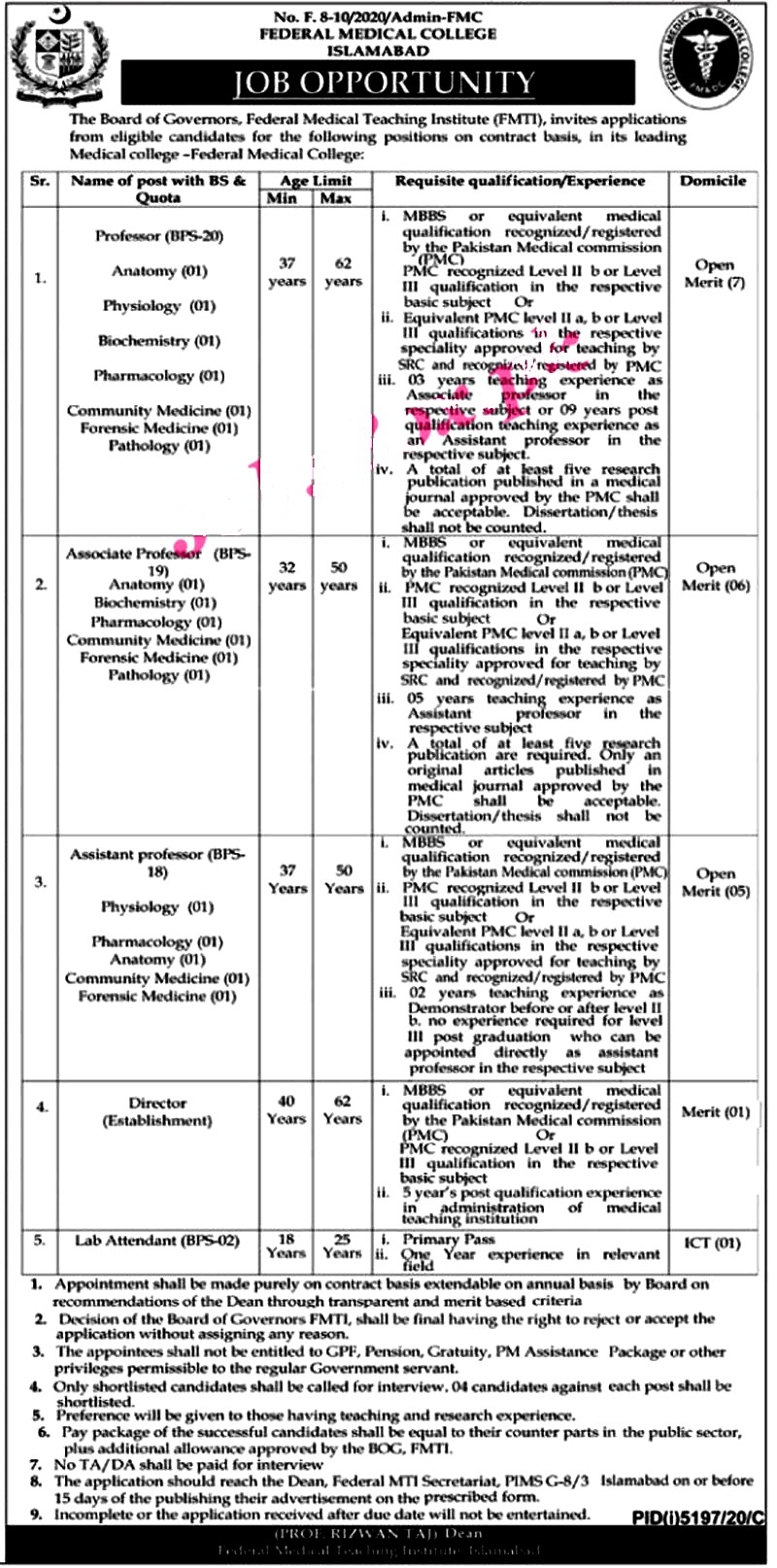 Latest Jobs in  Federal Medical College Islamabad 2021