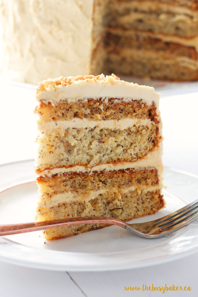 The Busy Baker: Banana Layer Cake with Fluffy Peanut Butter Frosting