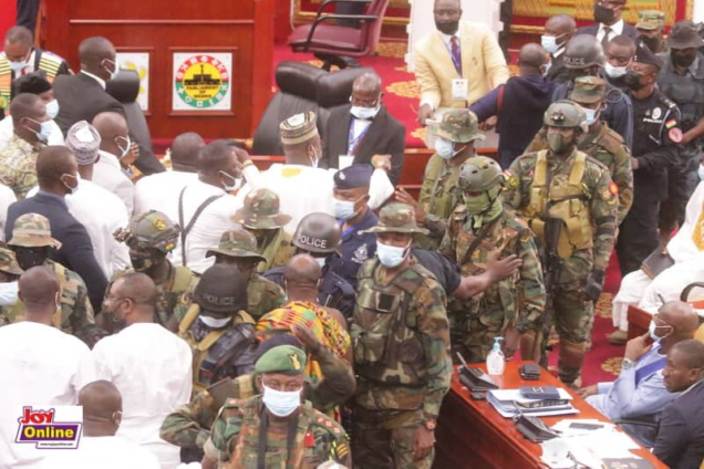 Video: Soldiers storm Ghana's Parliament over Speaker election