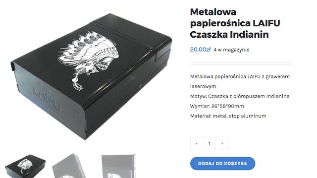 Metalowa papierośnica z grawerem czaszki