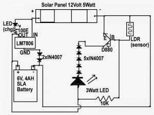 circuit diagram of 6v emergency light circuit diagram of 9 volt power supply solar emergency light circuit diagram   schematics world