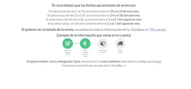 plazos de envíos en testabox