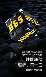 Layar refresh rate 144Hz iQOO Neo3 5G dan detail lainnya dikonfirmasi