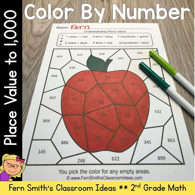 2nd Grade Go Math 2.5 Place Value To 1,000 Color By Number #FernSmithsClassroomIdeas