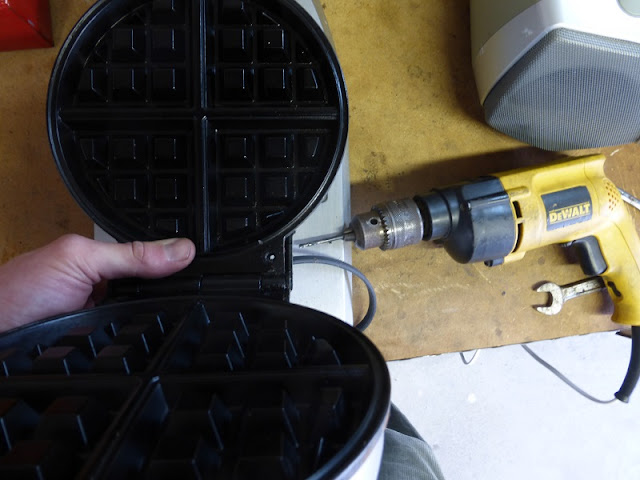 drilling through original waffle iron plastic