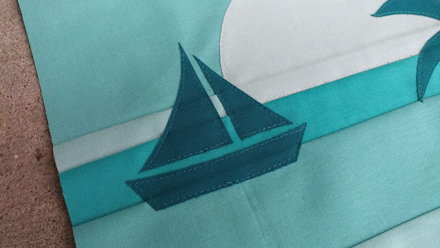 Raw edge applique sail boat