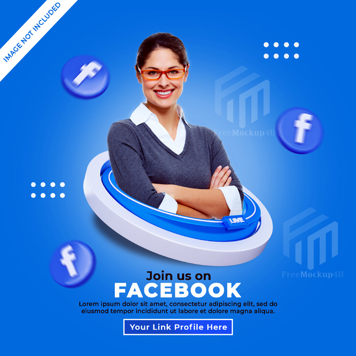 Follow Us Facebook Social Media Square Banner With 3D Logo Link Profile Box