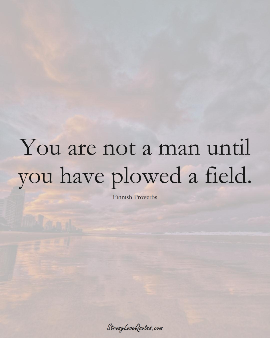You are not a man until you have plowed a field. (Finnish Sayings);  #EuropeanSayings