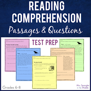 Just need some quick passages to use for reading test prep?  Try these!  #middleschool #readingstandards