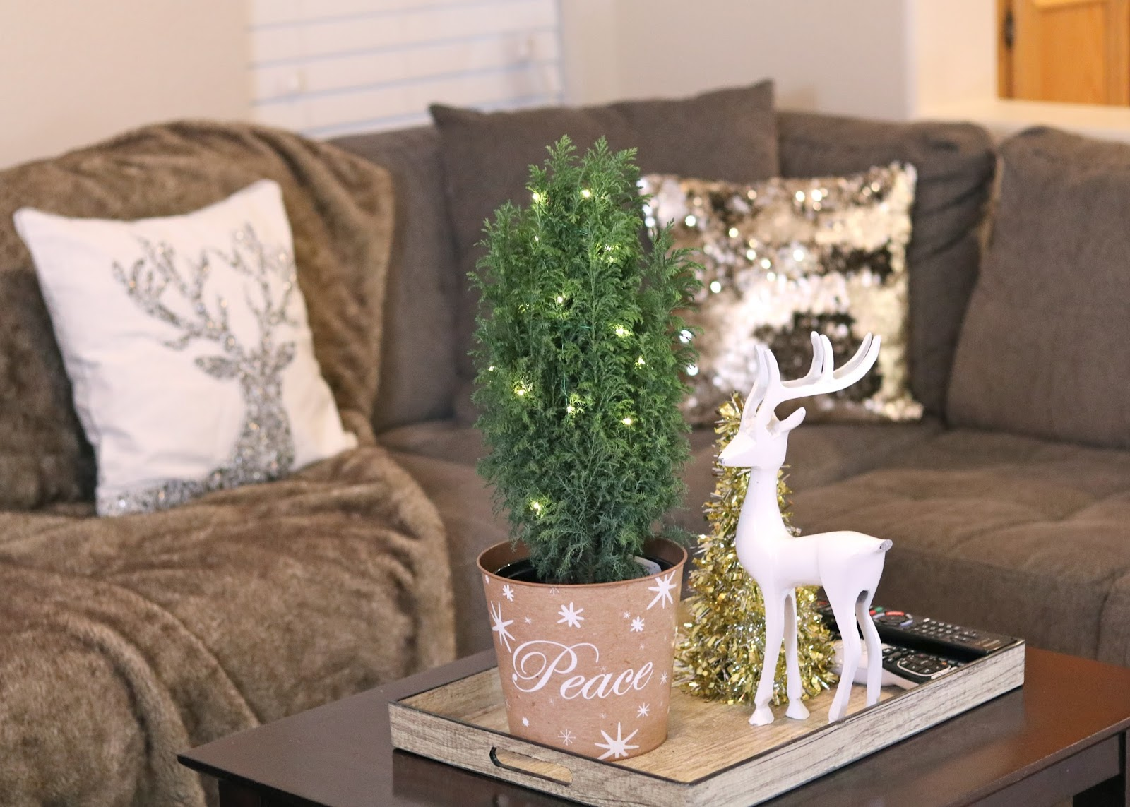 proflowers lit mini tree, white reindeer from marshalls, sparkly reindeer pillow