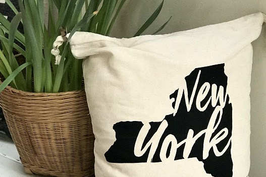 DIY NY State Drawstring Bag Pillow