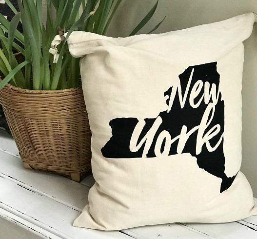 DIY NY State Drawstring Bag Pillow
