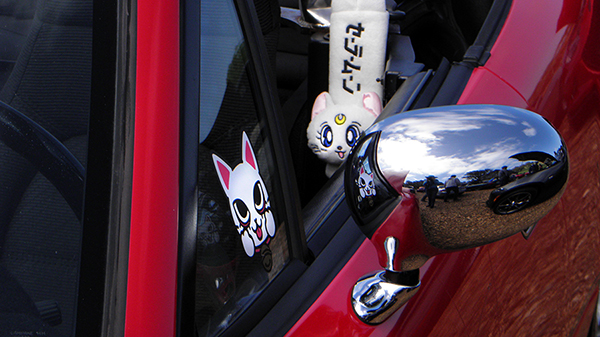 Red Miata with Japanese Kitty Cat Details