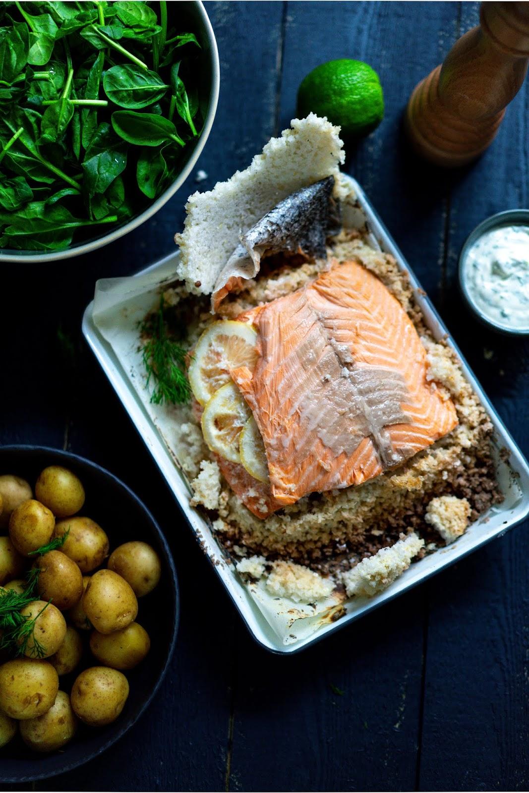 saumon , croute de gros sel , citron , plat léger , cuisine facile