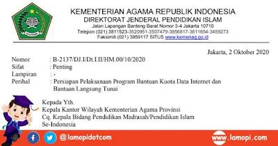 Surat Edaran Pemberian Bantuan Kuota Internet dan BLT Guru Madrasah Non PNS
