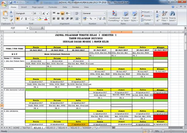 Contoh Aplikasi Jadwal Pelajaran Kurikulum 2013 SD