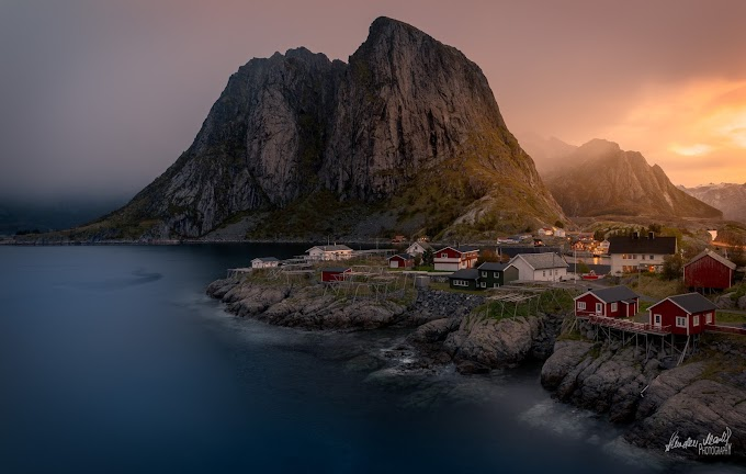 Hamnøy Village in Moskenesøya, Norway