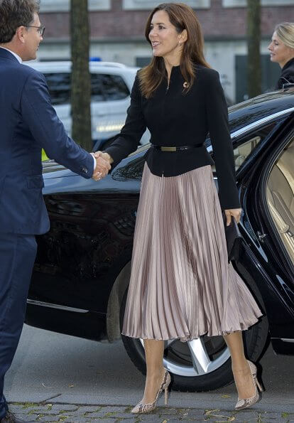 Crown Princess Mary wore MaxMara structured mock neck blazer, Gianvito Rossi python pumps, Sophie Bille Brahe boucle earrings