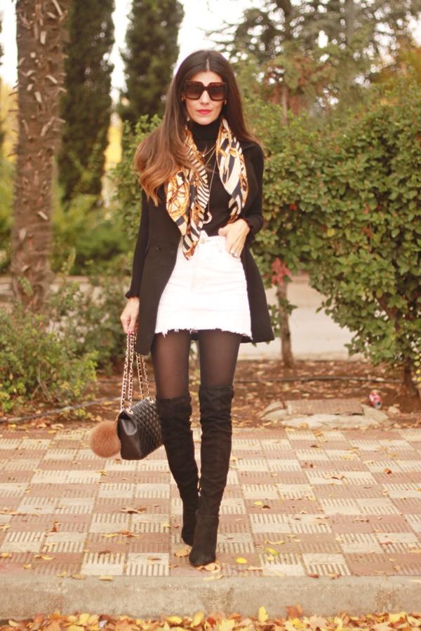 Falda vaquera, look blanco y negro, jeans skirt