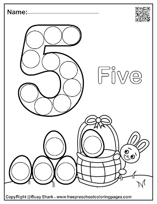 Easter 123 numbers dot markers printables,free preschool coloring pages ,free download pdf book , bunny rabbit holding basket of eggs