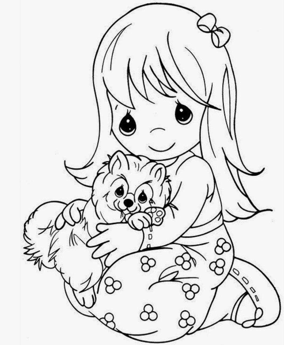 Coloring Pages For Girls: Colours Drawing Wallpaper: Beautiful Precious Moments Girl