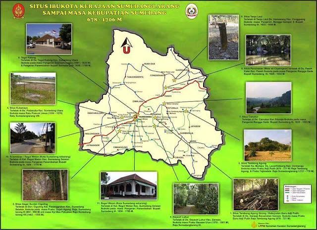 Peta Situs Ibukota Kerajaan Sumedanglarang Sampai Masa Kebupatian Sumedang 678-1708M
