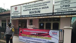 Polsek Warungasem Pasang Banner PPKM, Imbau Masyarakat Patuhi Prokes