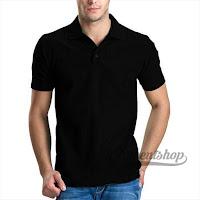 Kaos Polo Shirt Pria Warna Hitam