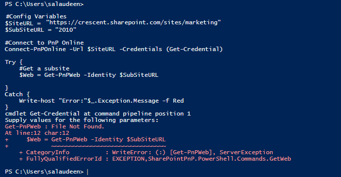 sharepoint online powershell try catch