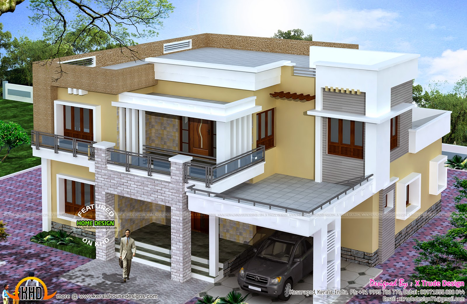 Different views of 2800 sq ft modern home kerala home for Designed home plans