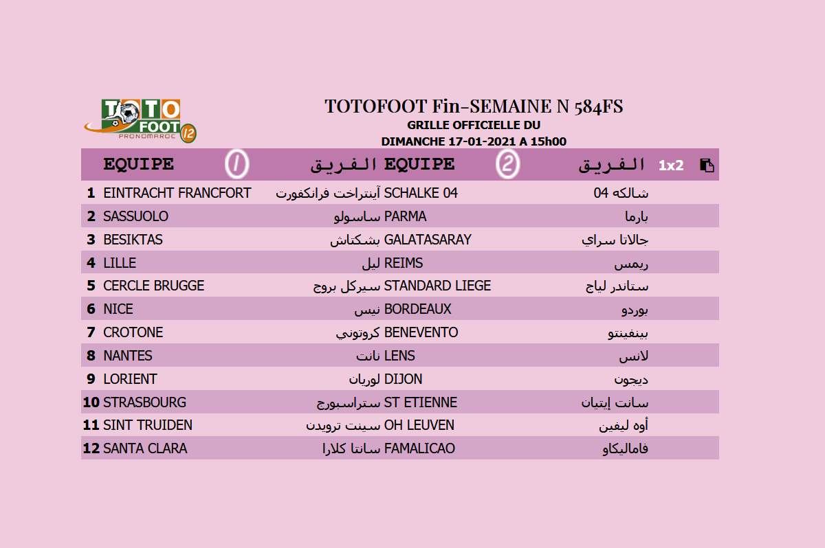 PRONOSTIC TOTOFOOT 12 Fin-SEMAINE N° 584FS