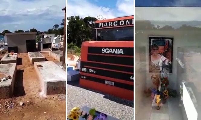 Caminhoneiro ganha túmulo em forma de Scania 124G em MT