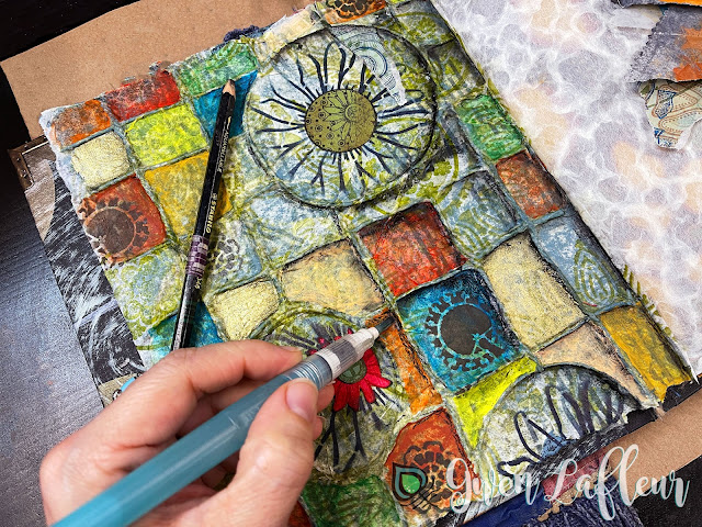 Textural Art Journaling with Stencils - Tutorial Step 7 - Gwen Lafleur