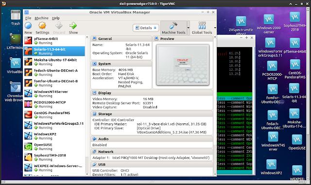 TigerVNC viewer on MX Linux laptop displays remote Ubuntu desktop running SANYALnet Labs virtual boxes