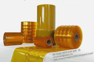 màn nhựa pvc màu vàng trơn và có gân sóng đôi