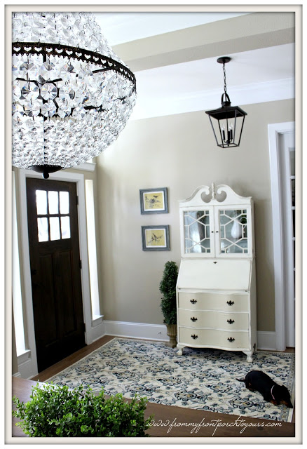 french country foyer-vintage secretary- from my front porch to yours