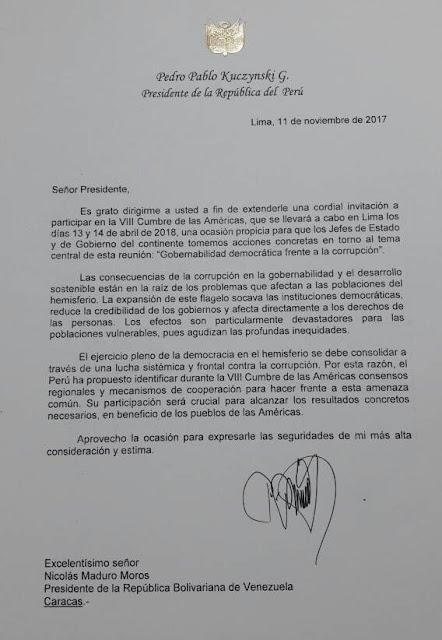 """Con carta """"chimba"""" Arreaza defendió acreditación de Maduro para reunión en Lima"""