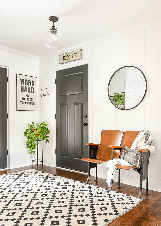 high contrast vintage modern mudroom makeover