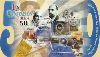 Hoja bloque Generación de los 50, Severo Ochoa, Juan Ramón Jiménez