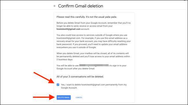 """انقر فوق المربع للتأكيد ، ثم انقر فوق """"حذف Gmail""""."""