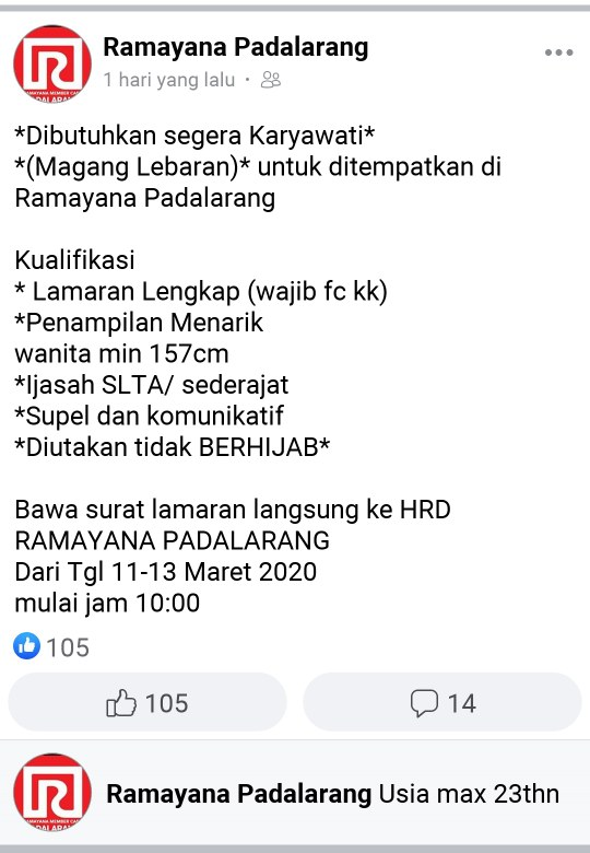 Lowongan Kerja Ramayana Padalarang Tingkat Sma Smk Update 2020 2021
