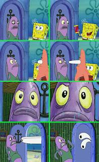 Polosan meme spongebob dan patrick 110 - spongebob berjualan coklat