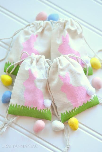 DIY Easter Bunny Stenciled Favor Bags - Craft-O-Maniac