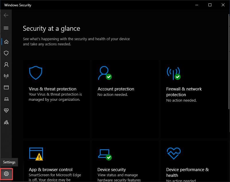 Chặn Windows Defender bằng Settings