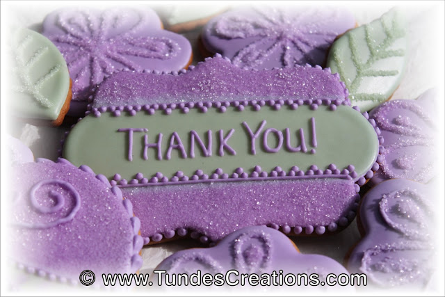 "Purple flower ""thank you"" cookie by Tunde Dugantsi"