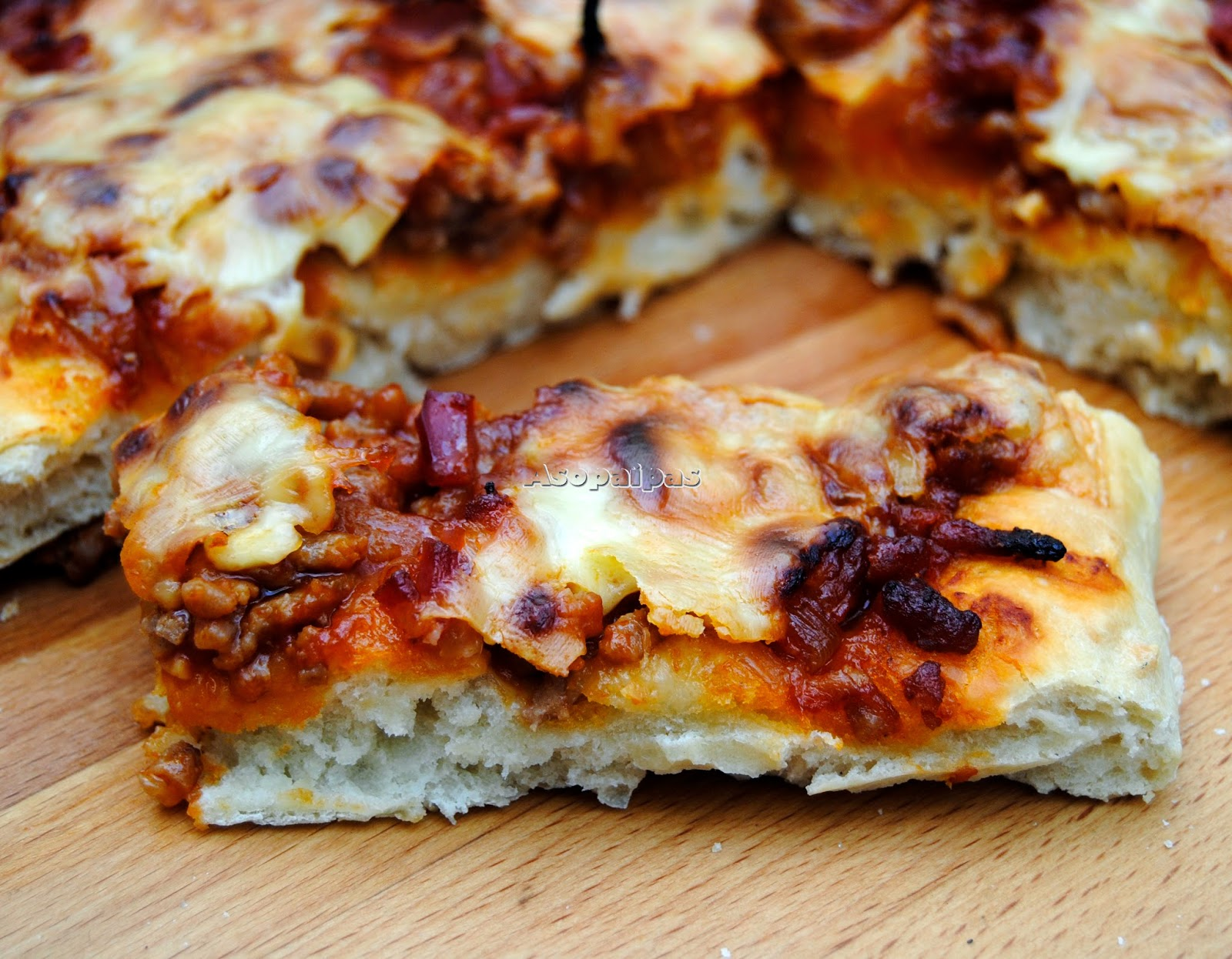 Pizza a la Barbacoa con Bacon Receta  Asopaipas Recetas